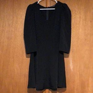 Black 3/4 sleeve a line dress
